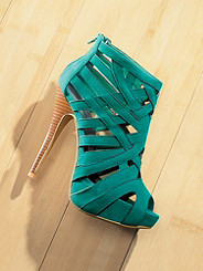 Caged Suede Stiletto Sandal