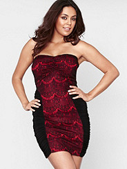 LACE OVERLAY STRAPLESS DRESS Plus