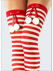 Candy Cane Pom Pom Thigh High