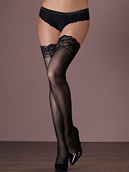 Lace-Top Fishnet Thigh-High