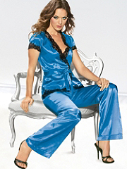 Buy Satin and Lace Three Piece Pajama Set, see details about this Sexy Lingerie and more