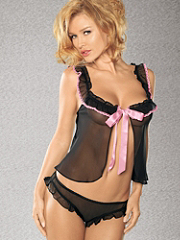 Buy Ribbon-Trim Georgette Cami-Doll Plus, see details about this Sexy Lingerie and more