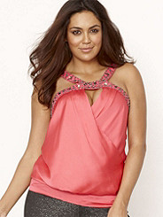 BEADED SATIN TOP Plus