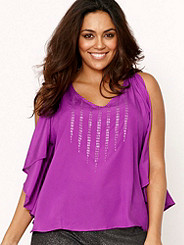 Beaded Ruffle Top Plus
