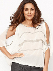 Cold Shoulder Beaded Top Plus