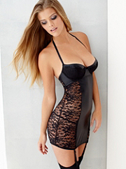 Eyelash Lace & Pleather Chemise details, images and more