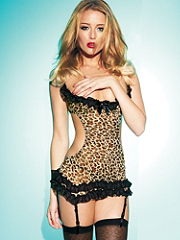 Ruffled Leopard Mesh Chemise details, images and more