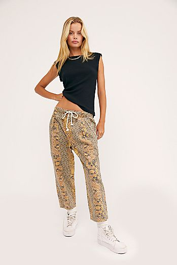 Mixed Up Printed Utility Jeans