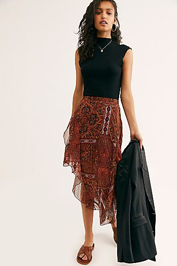Laney Printed Midi Skirt