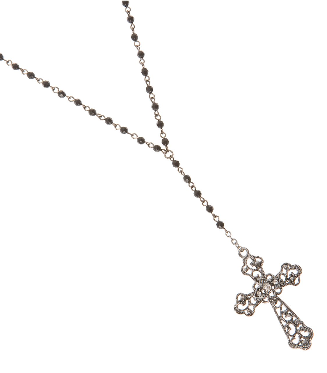G by GUESS Hematite Rosary Necklace, HEMATITE
