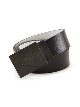 Create clean lines and a sleek overall look with this reversible faux-leather belt. A subtle logo at the buckle makes it an ideal signature piece.