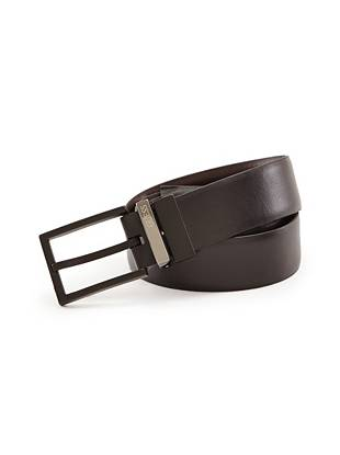 With a sleek reversible black and brown design and a matte prong buckle, this belt adds polish to any outfit.