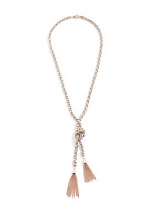 Grey and Rose Gold-Tone Woven Knot Necklace