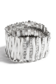 Silver-Tone Stretch Bar Bracelet