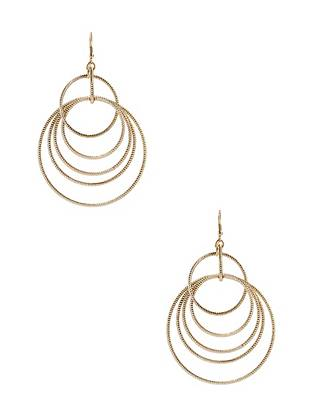 "Fashion your soiree-ready ensemble with the flirtatious appeal of these earrings. Gold-tone with textured details, these hoops reflect the light to make night-out looks shine.  • Textured gold-tone hoop earrings designed with hoops of varying lengths • 2 ¾"" length  • French hook  • Nickel and lead free  Pierced earrings are a final sale and may not be exchanged or returned."