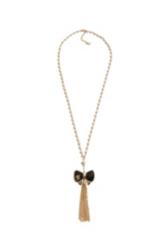 Bow Necklace with Tassel