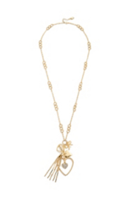 Gold-Tone Heart Charm Necklace