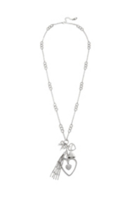 Silver-Tone Heart Charm Necklace