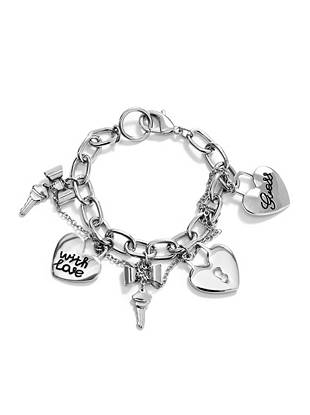 "Unlock style full of charm when you add this chain bracelet into your jewelry mix. Adorned with logo locks, keys and essential sparkle, the intertwined small chain detail adds a touch of edge to this sweet accessory. •	Silver-tone chain bracelet features charm embellishments including logo locks and bows with a dangling key •	2"" diameter •	¼"" width  •	Lobster clasp"