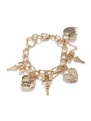 "Add a chic finish to any of your day-to-day looks with this gold-tone charm bracelet. Heart lock and key charms add contemporary edge to the classic accessory. Wear it solo or layer it on with other arm candy for instant eye-catching allure.      • Gold-tone link bracelet with key, heart and bow charms and chain accent • 2 ¾"" diameter • Lobster clasp"