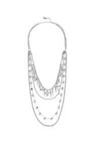 Silver-Tone Layered Spike Necklace