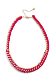 Coral-Colored Woven Chain Necklace