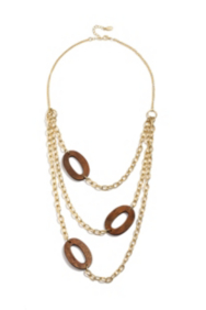 Gold-Tone Chain and Wooden Station Necklace
