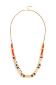 Coral-Colored and Gold-Tone Beaded Necklace