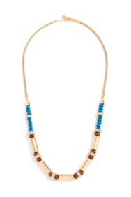 Blue and Gold-Tone Beaded Necklace