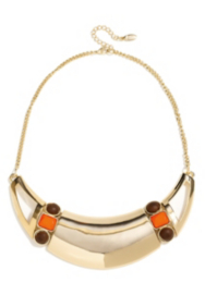 Gold-Tone Plate Necklace with Wooden Accents