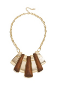 Gold-Tone and Wooden Statement Necklace