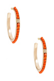 Gold-Tone Hoop Earrings with Coral-Colored Stone Detail