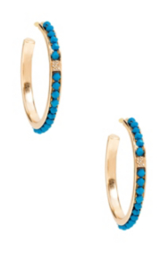 Gold-Tone Hoop Earrings with Blue Stone Detail