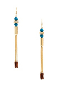 Gold-Tone Tassel Earrings with Blue Stone Detail