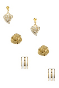 Three-Pair Gold-Tone Stud Earring Set