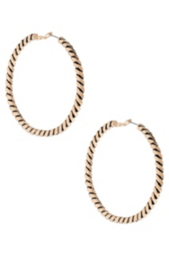Gold-Tone Cabled Hoop Earrings