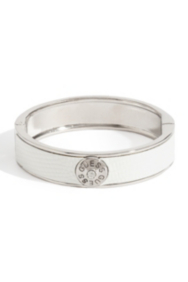 White Lizard-Embossed Bangle