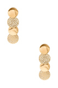 Gold-Tone and White Stingray-Texture Multi-Disc Earrings