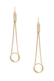 Gold-Tone and White Linear Stingray-Texture Earrings