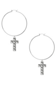 Studded Cross Hoop Earrings