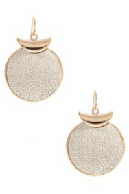 Gold-Tone and White Stingray-Texture Disc Earrings