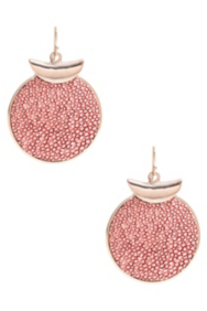 Gold-Tone and Pink Stingray-Texture Disc Earrings