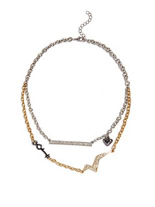 Effortlessly understated yet completely glamorous, this layered chain necklace goes with everything. Mixed charm details and dazzling rhinestones make it the perfect finish to your trend-forward style.