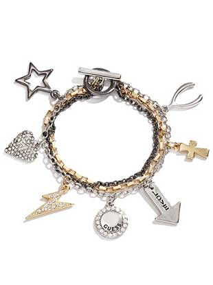 A modern mix of silver, gold and hematite tones give this layered charm bracelet a trend-driven look.