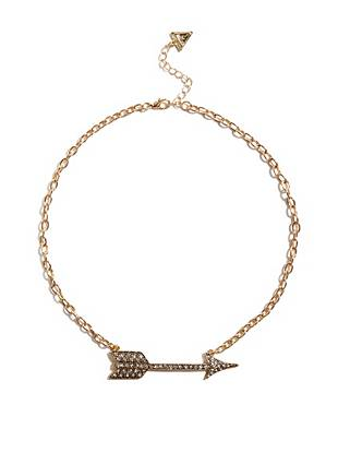 Glamorously romantic, this short gold-tone necklace is your new everyday go-to. A feminine arrow pendant showcases your charming sense of style and the pave design adds a welcome dose of sparkle.