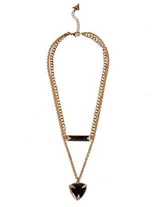 No look is complete without the perfect accessory, and this layered chain necklace is exactly what your everyday outfits need. Bold enamel pendants are accented with shimmering rhinestones, making it a statement-making yet easy-to-wear piece.