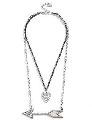 Channel the season's rocker vibe with this glamorous layered necklace. The two-tone design mixes with edge-driven charms to create the ultimate of-the-moment accessory.