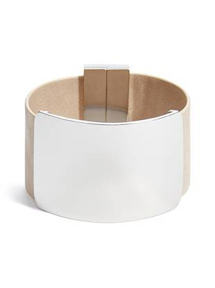 Beige and Silver-Tone Metal-Plate Cuff