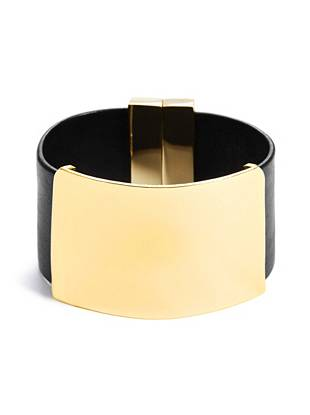 Black and Gold-Tone Metal-Plate Cuff