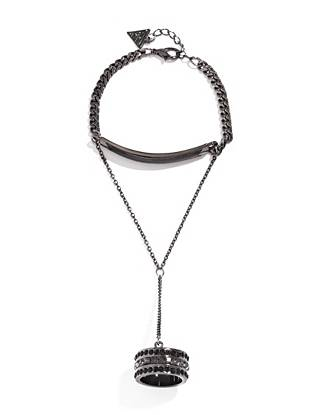 Master the season's most-talked-about accessory trend with this modern hand jewelry piece. Soft faux leather and shimmering rhinestones perfectly complement the high-shine hematite-tone finish.